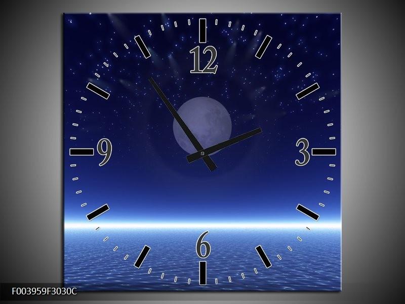 Klok schilderij Maan   Blauw, Wit, Grijs   30x30cm 1Luik