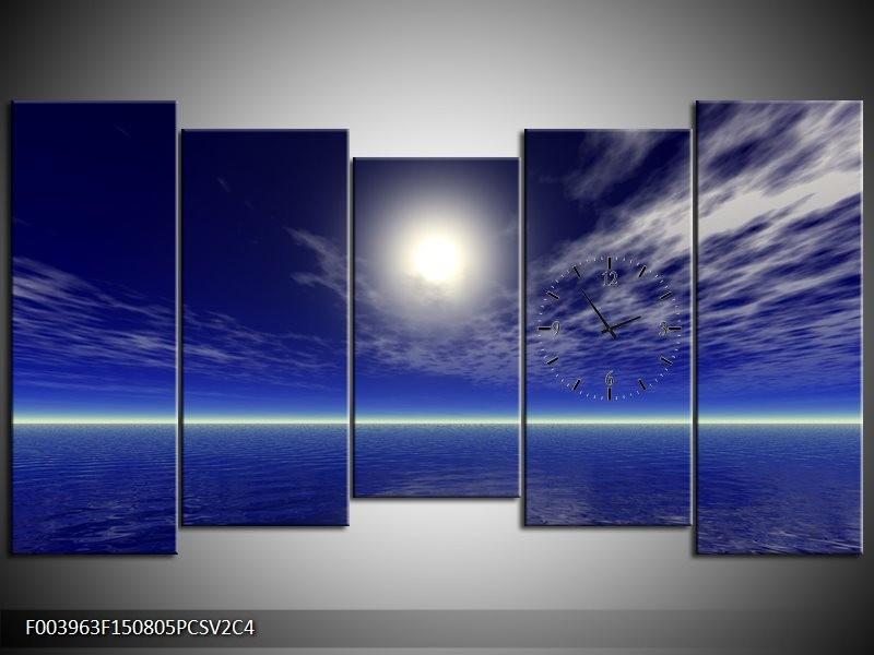 Klok schilderij Zee | Blauw, Wit | 150x80cm 5Luik