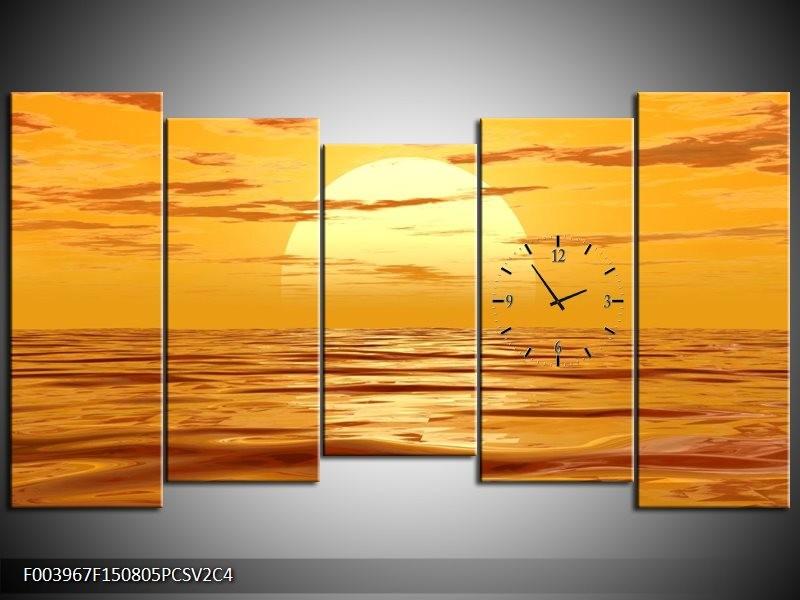 Klok schilderij Zonsondergang | Geel, Oranje, Bruin | 150x80cm 5Luik