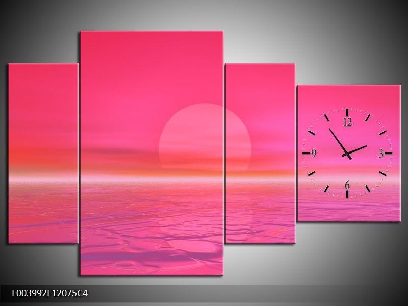 Klok schilderij Zonsondergang | Roze, Wit | 120x75cm 4Luik