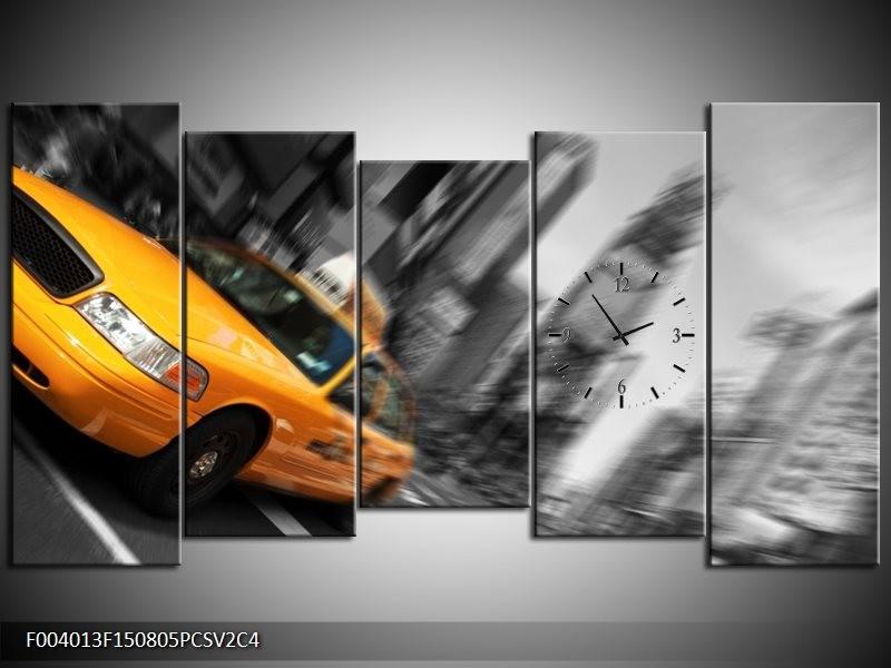 Klok schilderij Auto | Geel, Grijs, Zwart | 150x80cm 5Luik