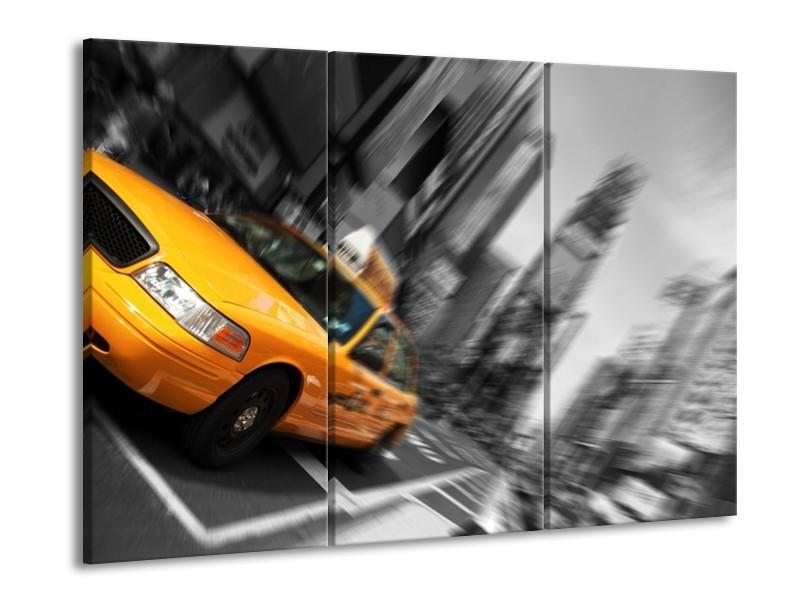 Canvas schilderij Auto | Geel, Grijs, Zwart | 90x60cm 3Luik