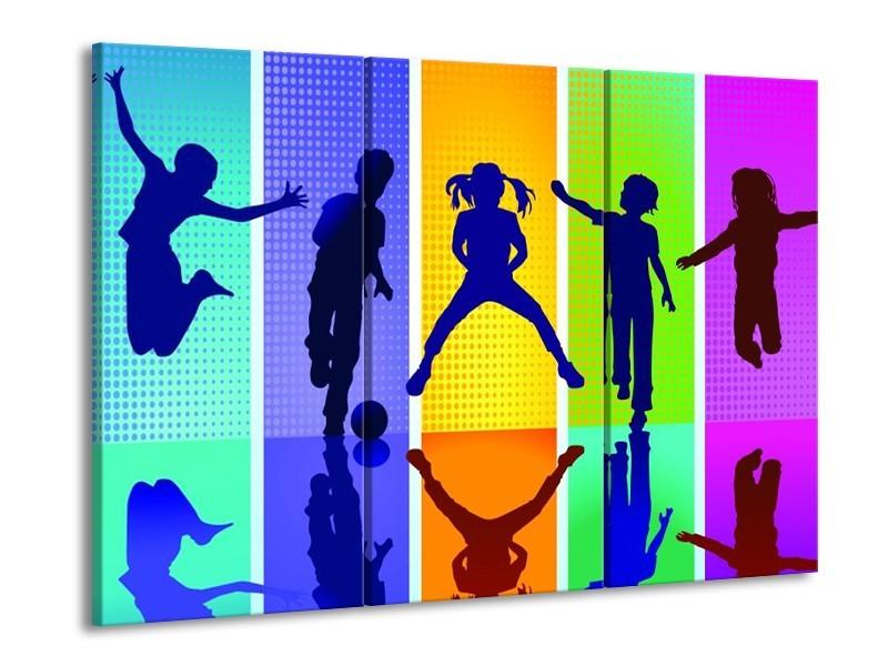 Glas schilderij Springen | Blauw, Geel, Groen | 90x60cm 3Luik