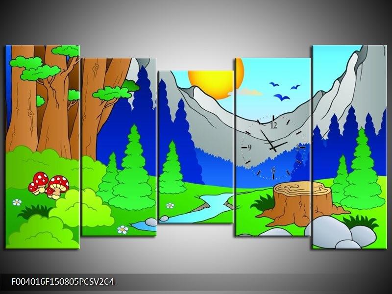 Klok schilderij Natuur | Blauw, Groen, Geel | 150x80cm 5Luik