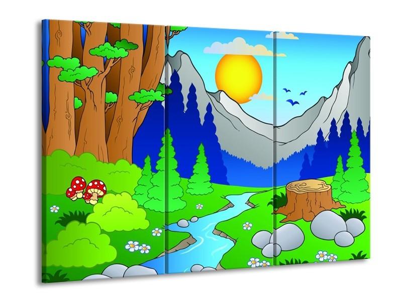 Glas schilderij Natuur | Blauw, Groen, Geel | 90x60cm 3Luik