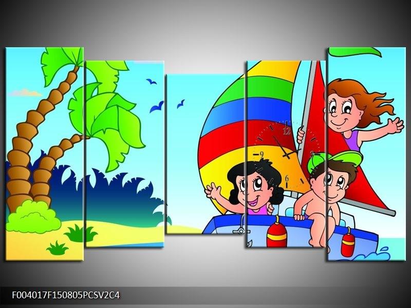 Klok schilderij Boot | Blauw, Rood, Groen | 150x80cm 5Luik