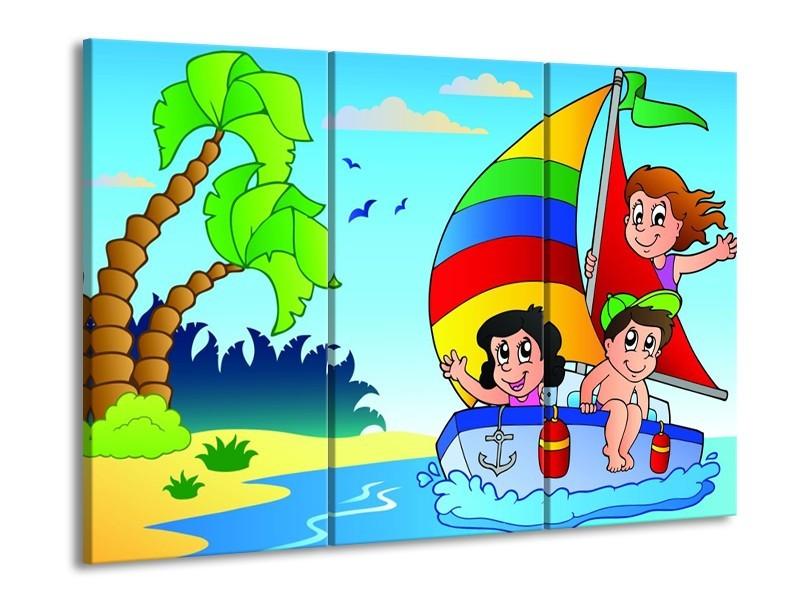 Glas schilderij Boot | Blauw, Rood, Groen | 90x60cm 3Luik