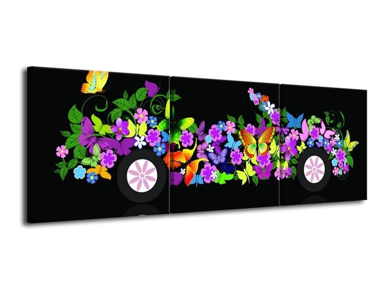 Canvas schilderij Auto | Zwart, Groen, Paars | 120x40cm 3Luik