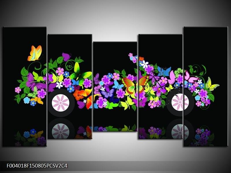 Klok schilderij Auto | Zwart, Groen, Paars | 150x80cm 5Luik