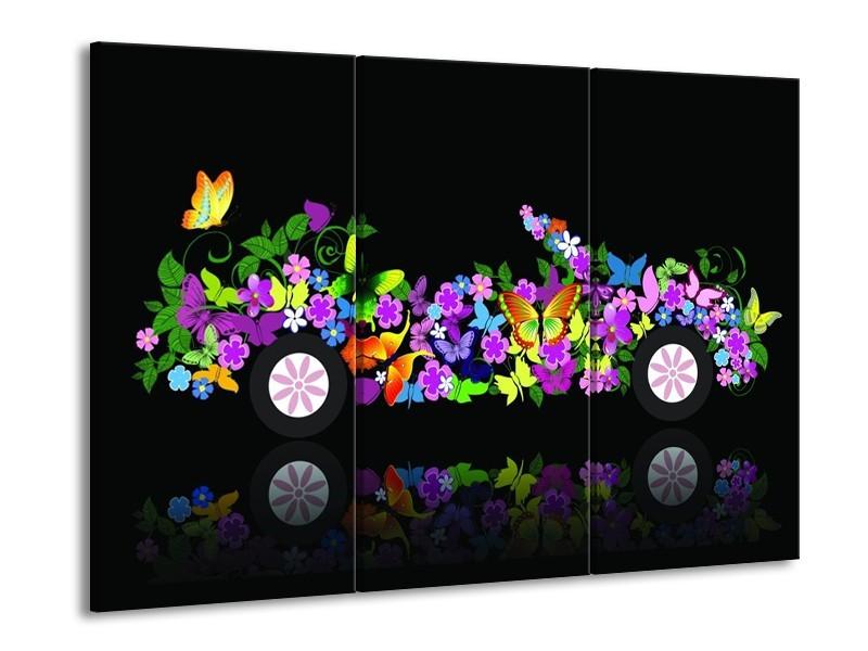 Glas schilderij Auto | Zwart, Groen, Paars | 90x60cm 3Luik