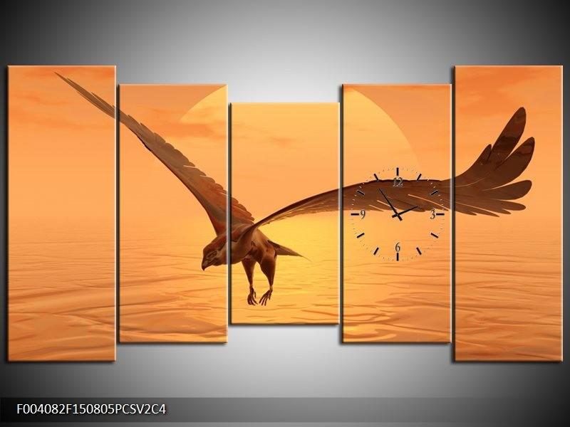 Klok schilderij Vogel   Geel, Bruin   150x80cm 5Luik