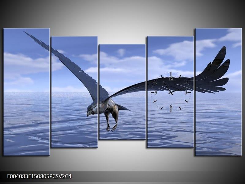 Klok schilderij Vogel   Blauw, Wit   150x80cm 5Luik