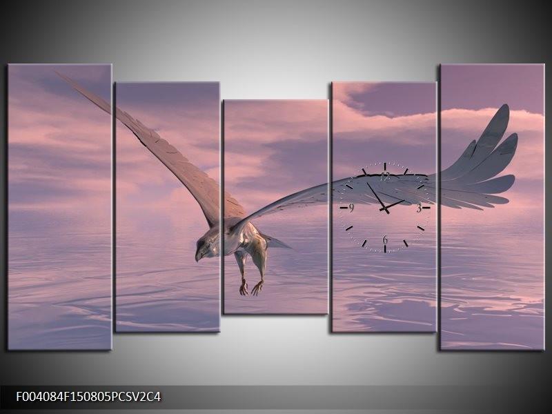 Klok schilderij Vogel   Grijs, Wit   150x80cm 5Luik