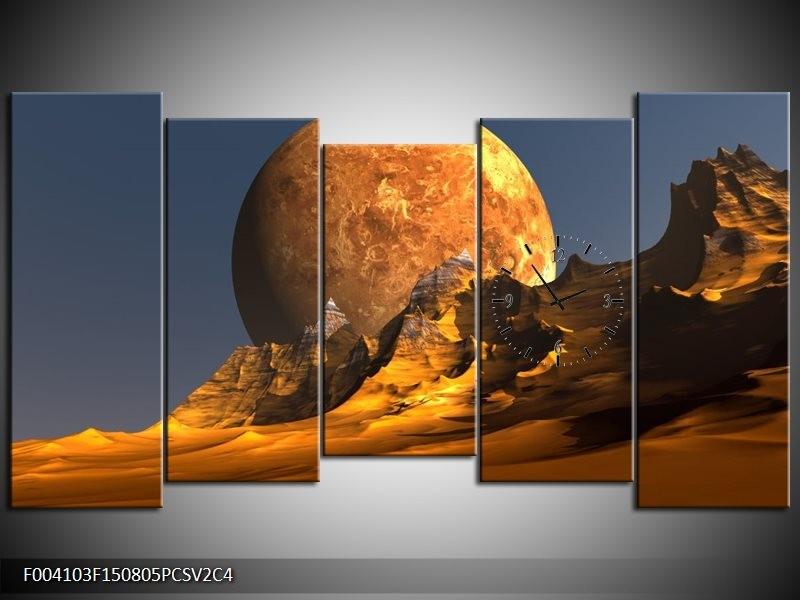 Klok schilderij Maan | Geel, Bruin, Grijs | 150x80cm 5Luik