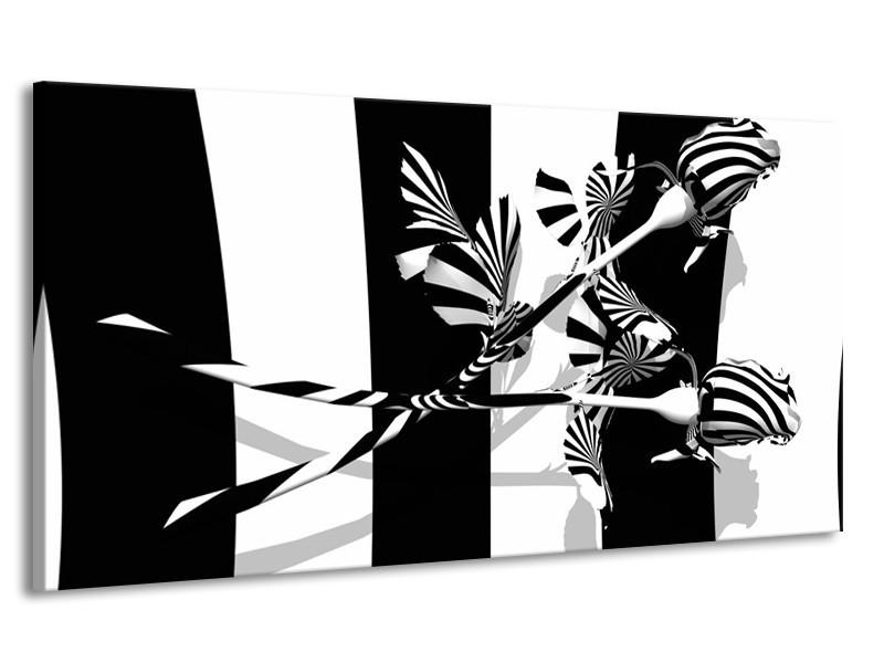 Canvas schilderij Abstract | Zwart, Wit, Grijs | 170x90cm 1Luik
