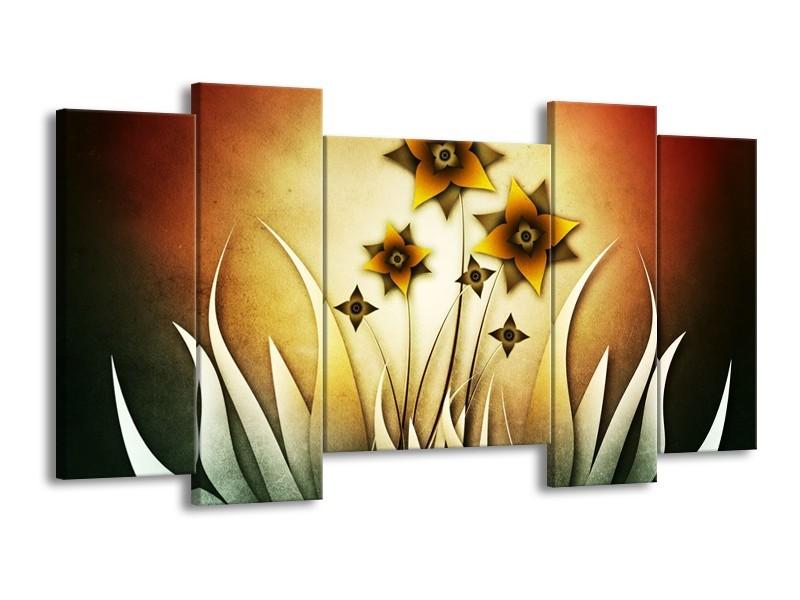 Glas schilderij Bloem | Geel, Bruin, Wit | 120x65cm 5Luik