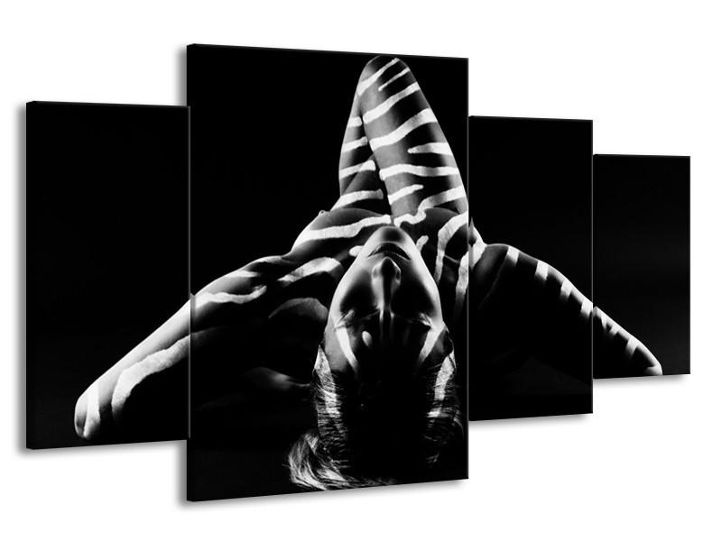 Canvas schilderij Abstract | Zwart, Wit, Grijs | 160x90cm 4Luik
