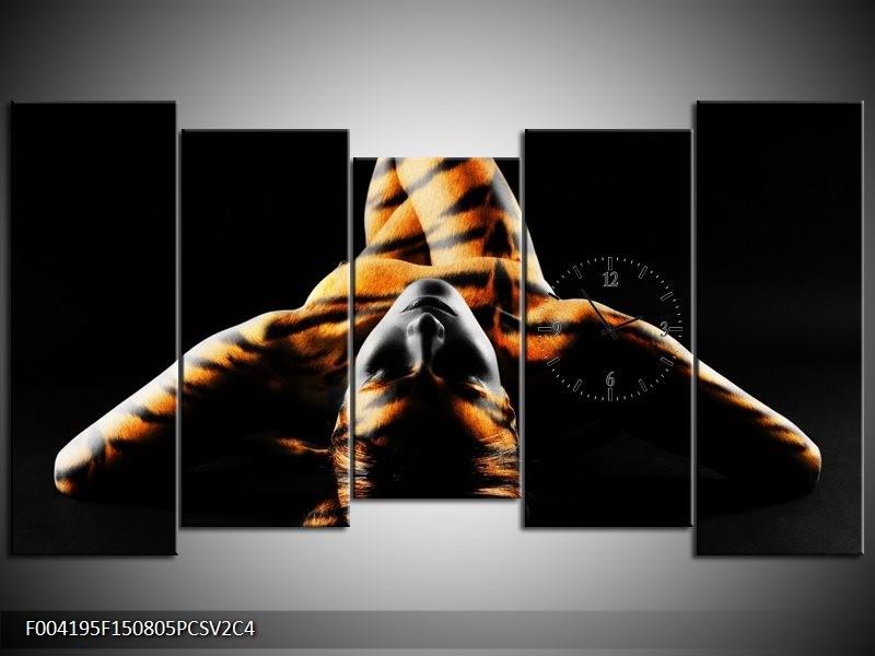 Klok schilderij Abstract | Oranje, Zwart, Geel | 150x80cm 5Luik