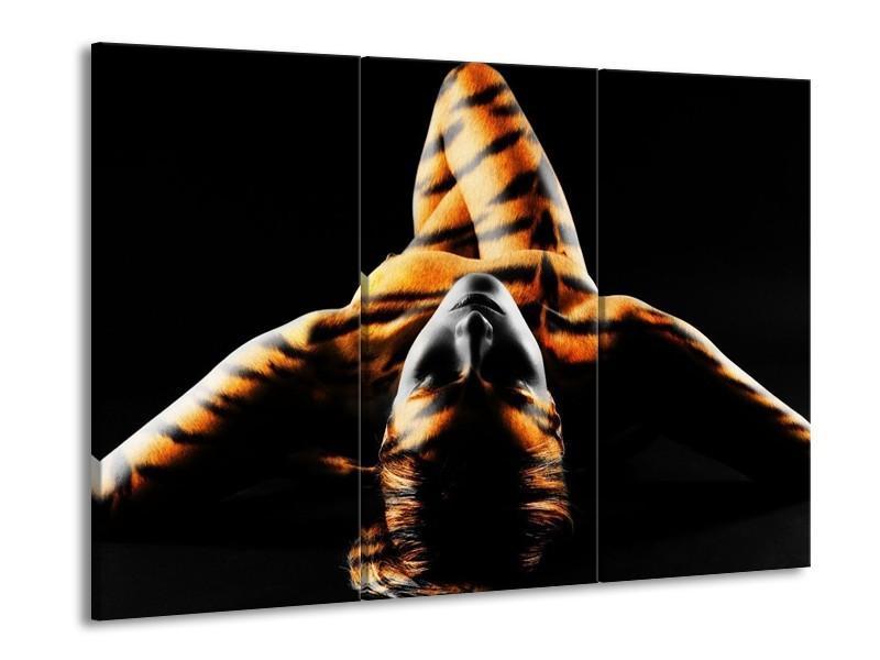 Glas schilderij Abstract | Oranje, Zwart, Geel | 90x60cm 3Luik