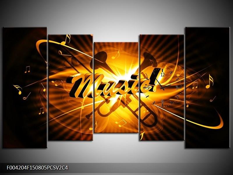Klok schilderij Muziek | Goud, Geel, Zwart | 150x80cm 5Luik