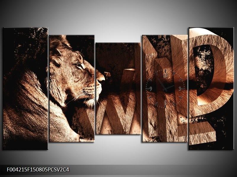 Klok schilderij Leeuw   Bruin, Zwart   150x80cm 5Luik