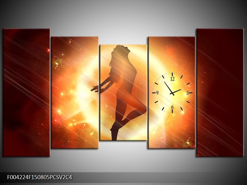 Klok schilderij Dansen | Geel, Oranje, Rood | 150x80cm 5Luik