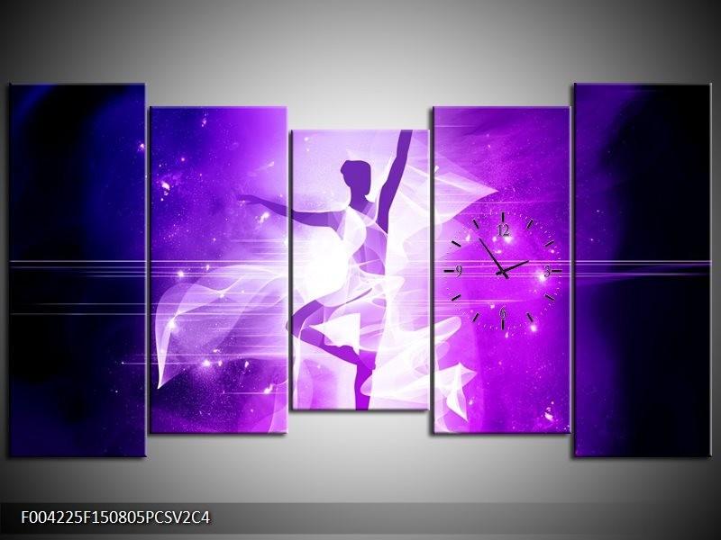 Klok schilderij Dansen | Paars, Wit | 150x80cm 5Luik