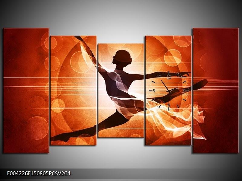 Klok schilderij Dansen | Oranje, Rood, Bruin | 150x80cm 5Luik