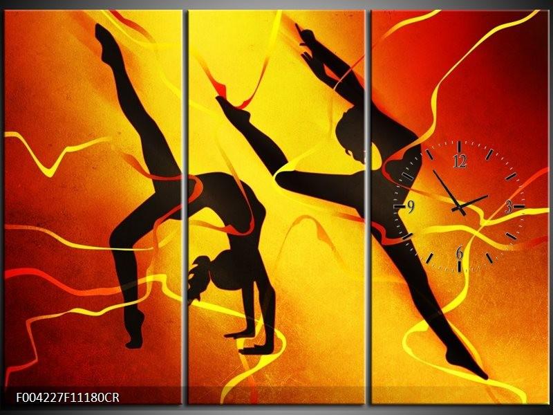 Klok schilderij Dansen | Oranje, Rood, Geel | 111x80cm 3Luik
