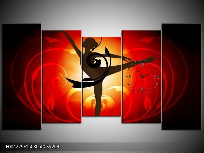 Klok schilderij Dansen | Oranje, Rood, Geel | 150x80cm 5Luik