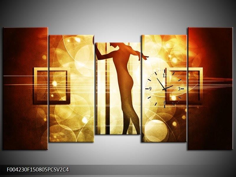 Klok schilderij Dansen | Geel, Wit, Bruin | 150x80cm 5Luik