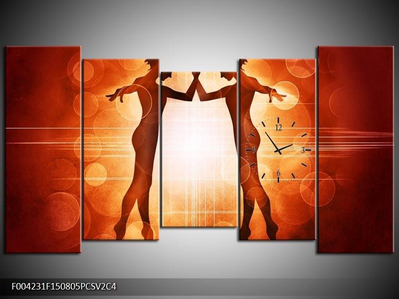Klok schilderij Dansen | Rood, Wit, Bruin | 150x80cm 5Luik
