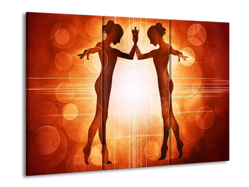 Canvas schilderij Dansen | Rood, Wit, Bruin | 90x60cm 3Luik
