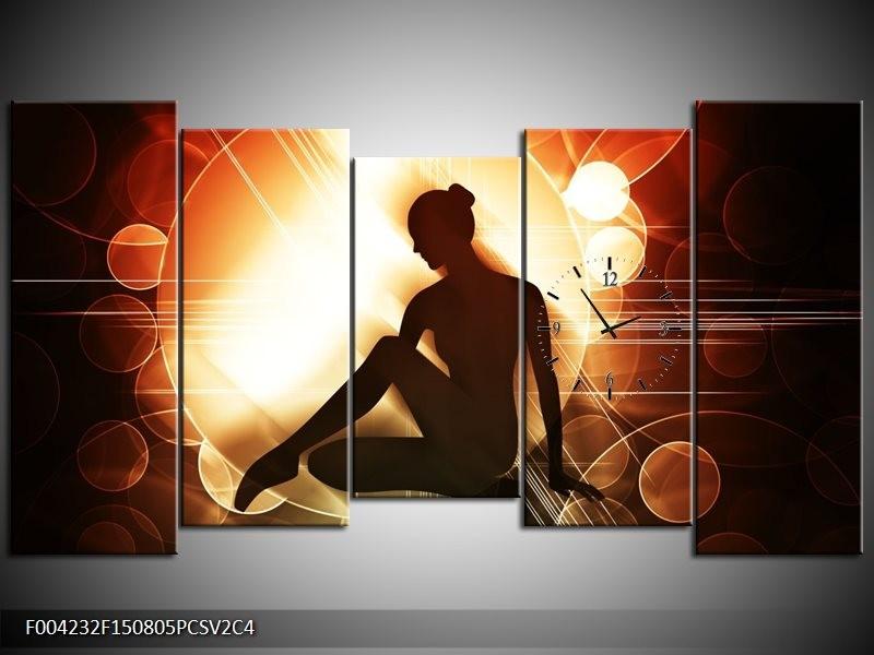 Klok schilderij Dansen | Bruin, Wit, Geel | 150x80cm 5Luik