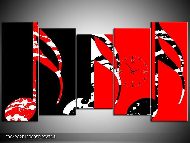 Klok schilderij Muziek | Rood, Zwart, Wit | 150x80cm 5Luik