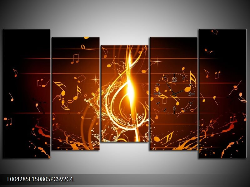 Klok schilderij Muziek | Bruin, Geel, Zwart | 150x80cm 5Luik