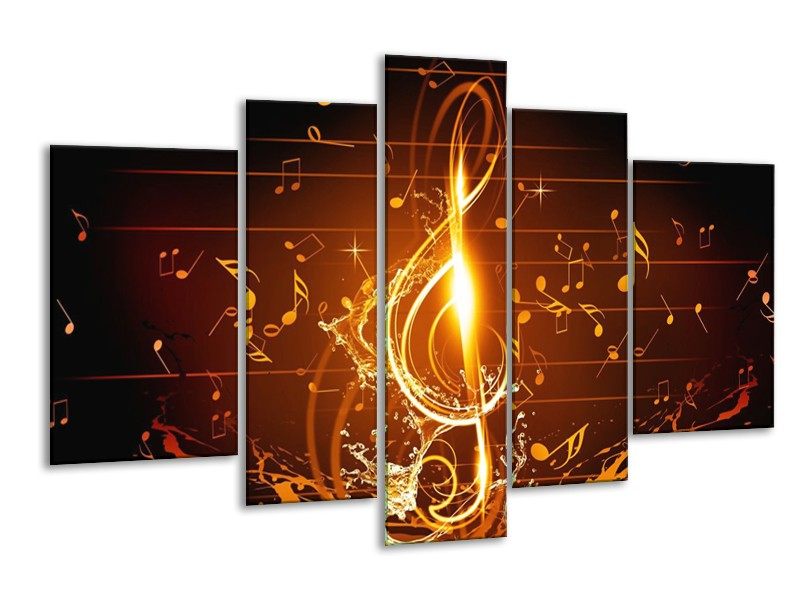 Canvas schilderij Muziek | Bruin, Geel, Zwart | 170x100cm 5Luik