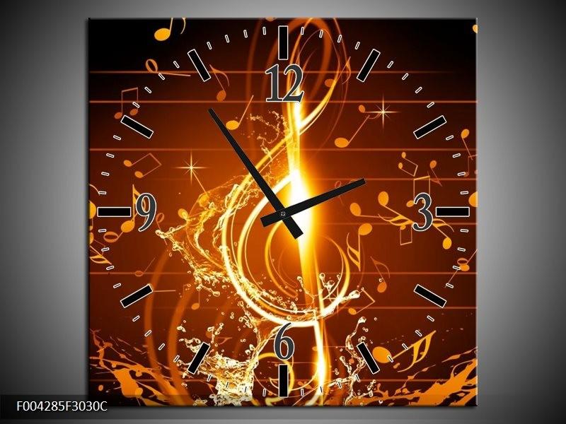 Klok schilderij Muziek | Bruin, Geel, Zwart | 30x30cm 1Luik