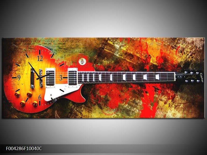 Klok schilderij Gitaar | Rood, Oranje, Geel | 100x40cm 1Luik