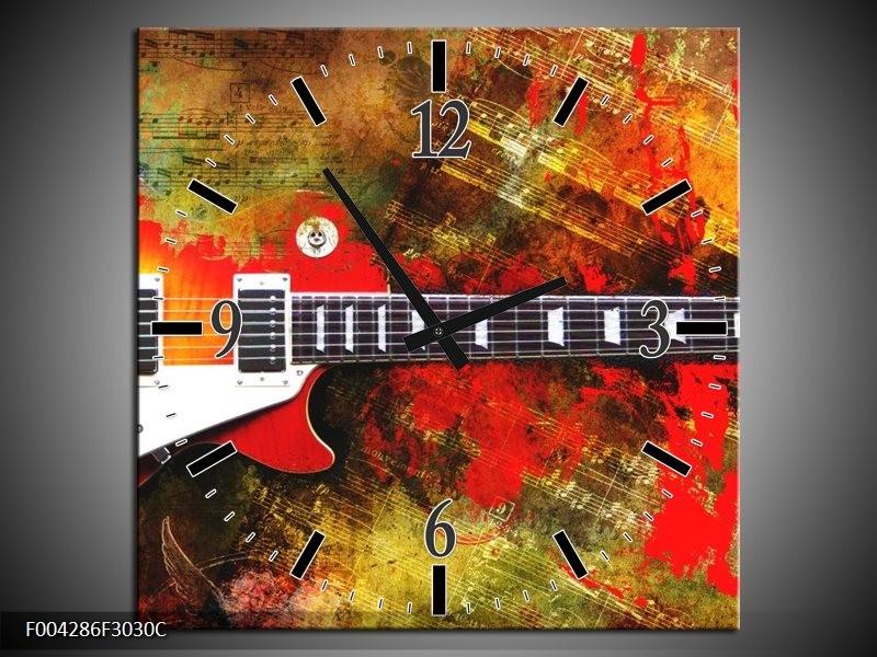 Klok schilderij Gitaar | Rood, Oranje, Geel | 30x30cm 1Luik