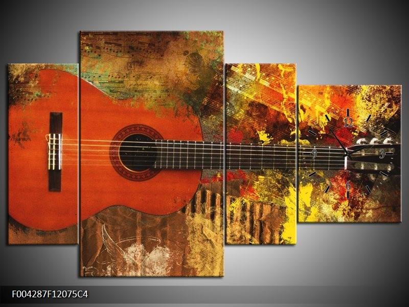 Klok schilderij Gitaar | Rood, Oranje, Geel | 120x75cm 4Luik
