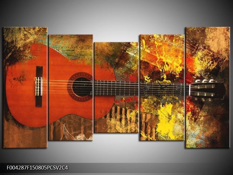 Klok schilderij Gitaar | Rood, Oranje, Geel | 150x80cm 5Luik
