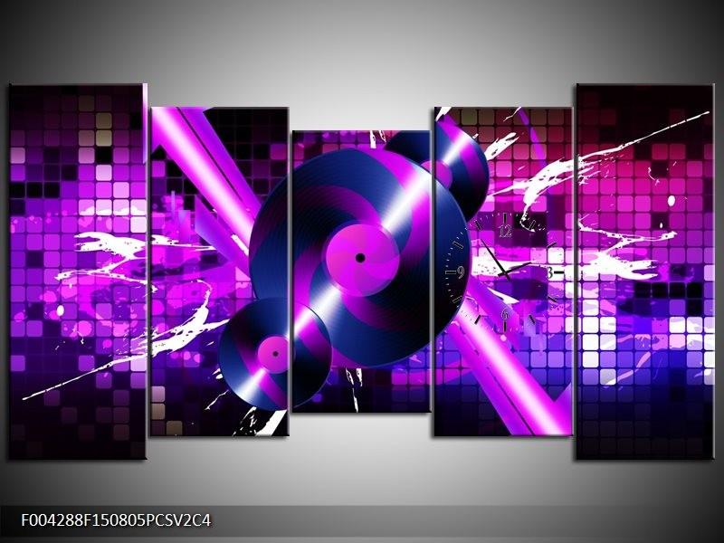Klok schilderij Muziek | Paars, Roze, Zwart | 150x80cm 5Luik