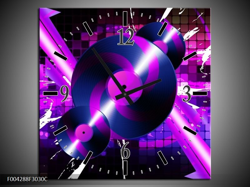 Klok schilderij Muziek | Paars, Roze, Zwart | 30x30cm 1Luik