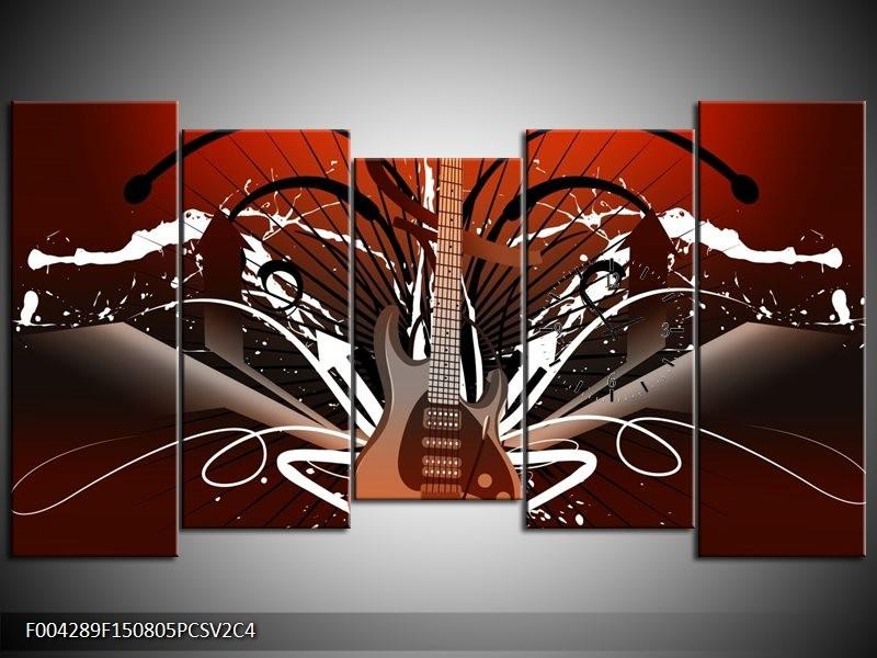Klok schilderij Gitaar | Bruin, Wit, Zwart | 150x80cm 5Luik