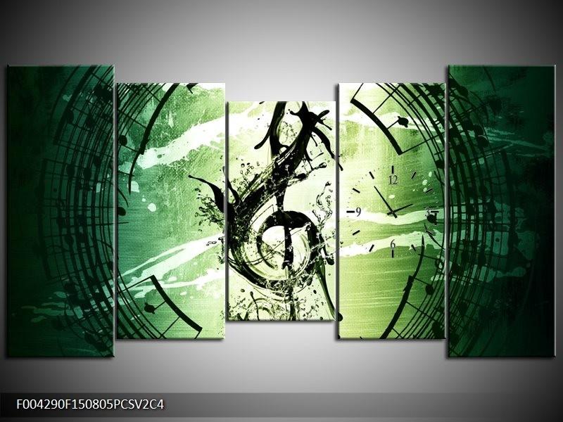 Klok schilderij Gitaar | Groen, Wit, Zwart | 150x80cm 5Luik