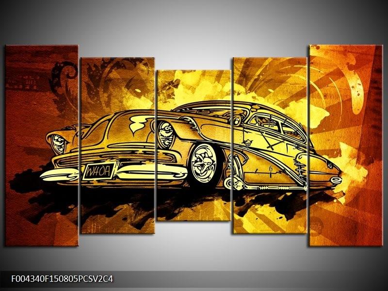Klok schilderij Oldtimer | Geel, Zwart, Goud | 150x80cm 5Luik