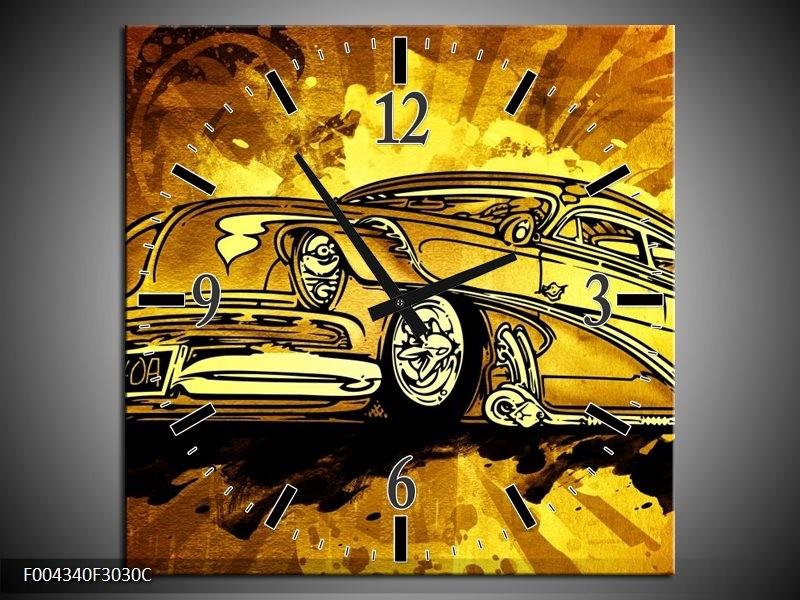 Klok schilderij Oldtimer   Geel, Zwart, Goud   30x30cm 1Luik