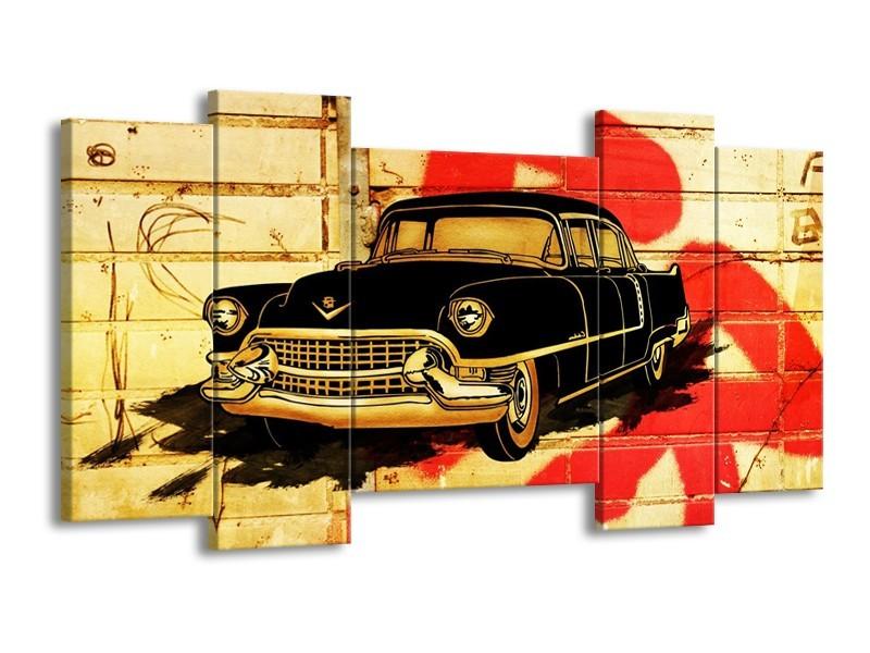 Glas schilderij Oldtimer | Zwart, Rood, Geel | 120x65cm 5Luik