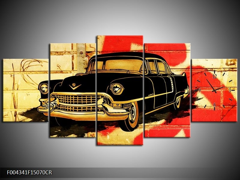 Klok schilderij Oldtimer | Zwart, Rood, Geel | 150x70cm 5Luik